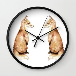Fancy Fun Foxes: Mirror Image Red Foxes Wall Clock