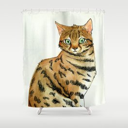 Black footed Cat Shower Curtain