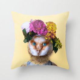 Lady Owl with Head Flowers Bouquet Throw Pillow