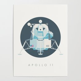 Apollo 11 Lunar Lander Module - Text Charcoal Poster