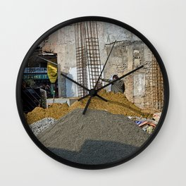 CONSTRUCTION SITE POKHARA NEPAL Wall Clock