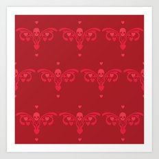 Skulls and hearts Art Print