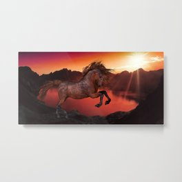 A Horse In The Sunset Metal Print