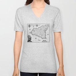 Vintage Map of Sicily Italy (1600s) BW Unisex V-Neck