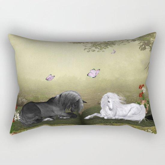Wonderful white unicorn with black horse Rectangular Pillow