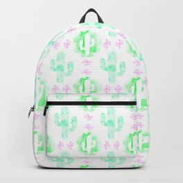 Green and pink watercolor cactus Backpack
