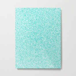 Spacey Melange - White and Turquoise Metal Print