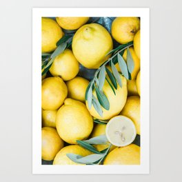 Lemons & Olive branches | Italian lifestyle | Travel photography food wall art print Art Print