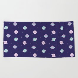 Kawaii Pastel Planets Beach Towel
