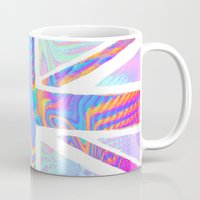 holographic Mugs featuring Holographic Union Jack  by Berberism