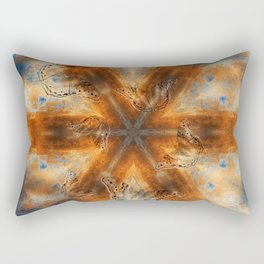 Surreal butterflies on corrugated iron mandala Rectangular Pillow