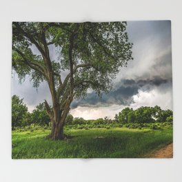 Big Tree - Tall Cottonwood and Passing Storm in Texas Throw Blanket