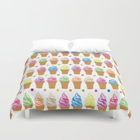 ice cream Duvet Covers featuring Ice Cream by Ornaart