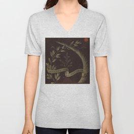 "Leonardo Da Vinci ""Wreath of Laurel, Palm, and Juniper with a Scroll inscribed Virtutem Forma Decor"" Unisex V-Neck"