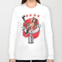 blackhawks Long Sleeve T-shirts featuring Chicago Cup win 2015 pin up girl by Carla Wyzgala by carlations: Carla Wyzgala illustrations