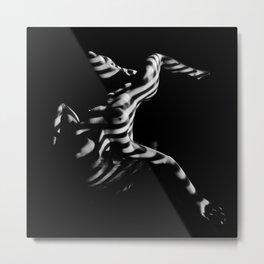 4341s-DEW Zebra Striped BW Abstract Art Nude Fit Woman Yoga Stretch Feminine Grace Power Metal Print