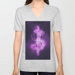 Dollar sign, Dollar Symbol. Monetary currency symbol. Abstract night sky background. Unisex V-Neck