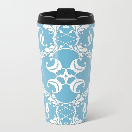 Blue Leaf Lace Metal Travel Mug