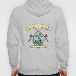Fishing Rod Reel Blue Marlin Fish Beer Bottle Coat of Arms Drawing Hoody