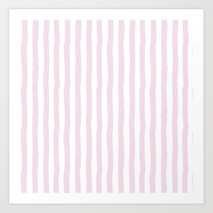 Baby Pink White Modern Paint Brushstrokes Stripes Art Print By Water Society6