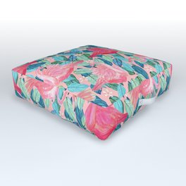 Tropical Flamingo watercolor Outdoor Floor Cushion