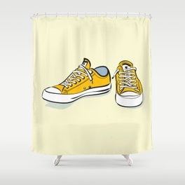 Yellow Sneakers Shower Curtain
