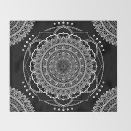 Black and White Geometric Mandala Throw Blanket
