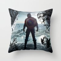 steve rogers Throw Pillows featuring Steve Rogers 002 by TheTreasure