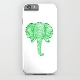 Green Elephant Illustration iPhone Case