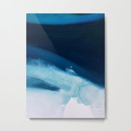 Believe: a minimal, abstract painting in white and blue by Alyssa Hamilton Art  Metal Print