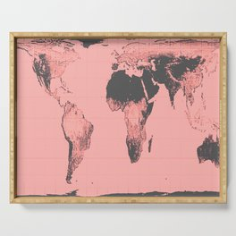 World Map: Gall Peters Pink Serving Tray