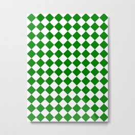 Diamonds - White and Green Metal Print