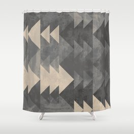 Geometric triangles abstract pattern - Gray tones & Beige Shower Curtain