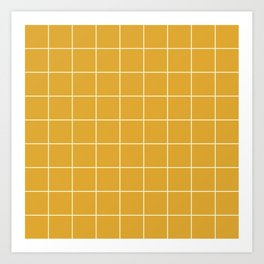 Yellow #9 Grid Stripe Lines Minimalist Geometric Line Stripes Art Print