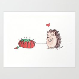 Hedgehog in Love Art Print