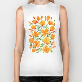 Watercolor California poppies Biker Tank
