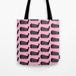 Golf Club Head Vintage Pattern (Pink/Black) Tote Bag