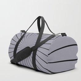 3D Pantone Lilac Gray with Black Thin Striped Circle Pinwheel Duffle Bag