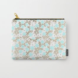 Modern faux gold teal white hand painted floral Carry-All Pouch