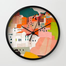 italy coast houses minimal abstract painting Wall Clock