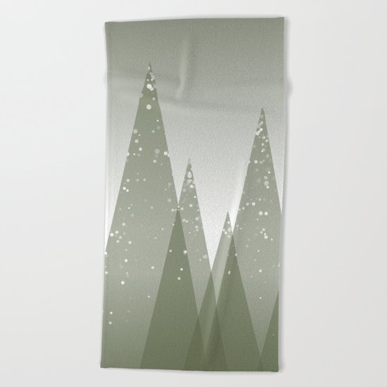 Green Abstract Forest Beach Towel