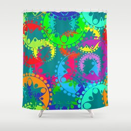 Texture of bright blue gears and laurel wreaths in kaleidoscope rainbow style. Shower Curtain