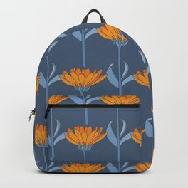 Floral in Blue and Orange Backpack