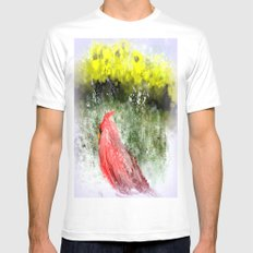 Spring and Winter Cardinal Mens Fitted Tee MEDIUM White