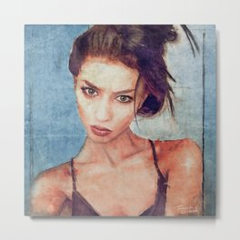 Portrait Of Young Woman With Large Eyes Metal Print