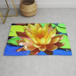 YELLOW WATER LILIES POND GREEN LILY PADS Rug