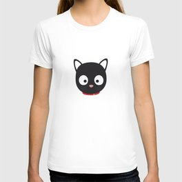 Cute black cat with red collar T-shirt