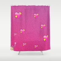 emoji Shower Curtains featuring Flossy Emoji by jajoão