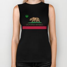 California Republic state flag with green Cannabis leaf Biker Tank