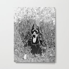 doberman dog red flowers meadow vector art black white Metal Print